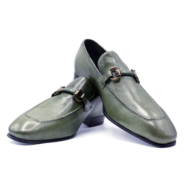ANTICO Calfskin Brass Bit Loafer, Sage Green