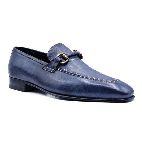 ANTICO Calfskin Brass Bit Loafer, Navy