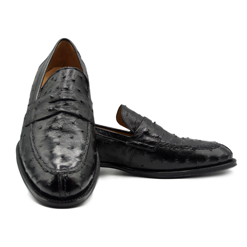 13-500-BLK ROMA Ostrich Quill Penny Loafer, Black