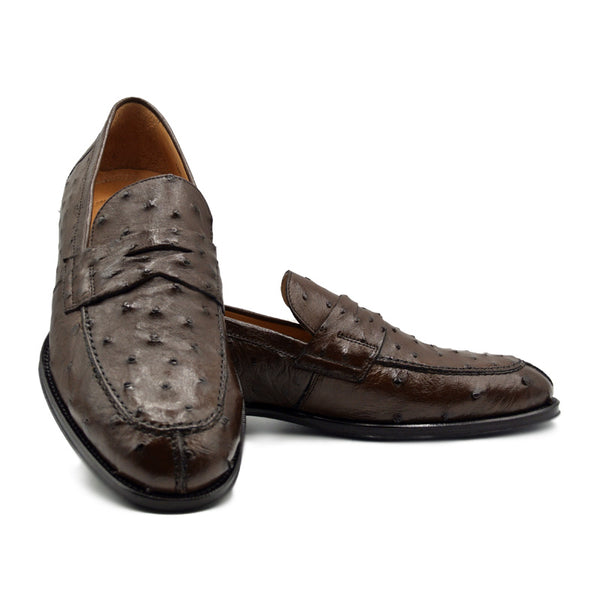 ROMA Ostrich Quill Penny Loafer, Brown