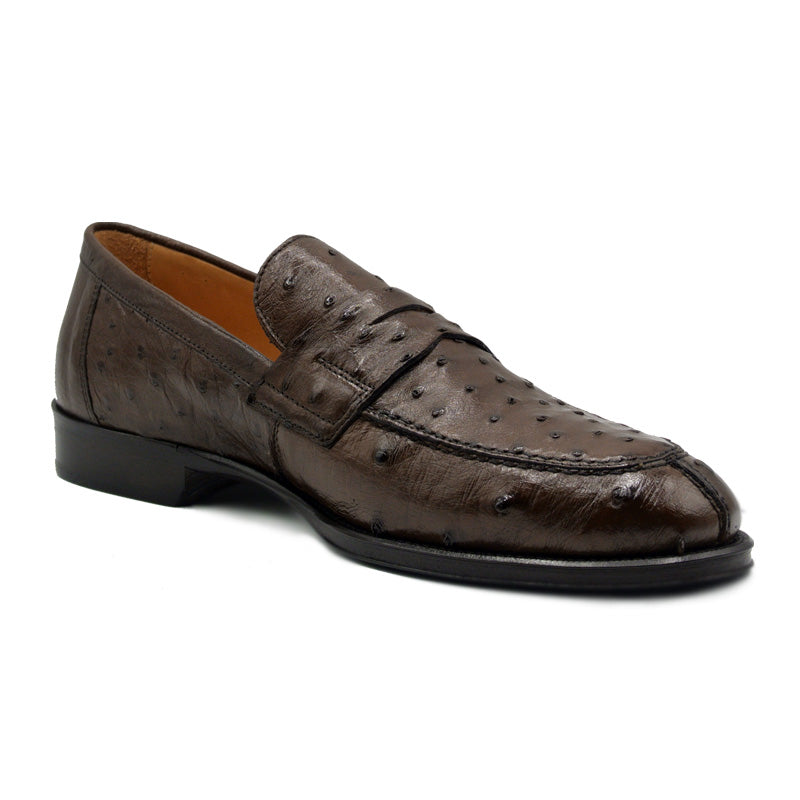 13-500-BRN ROMA Ostrich Quill Penny Loafer, Brown