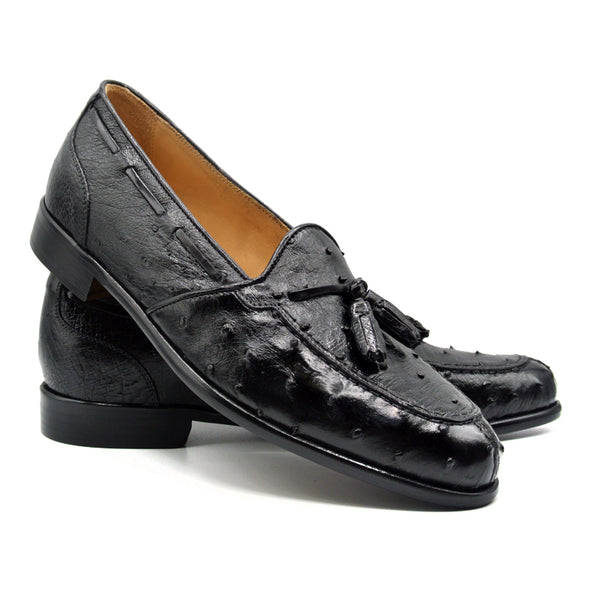 FRANCO Ostrich Tassel Loafer, Black