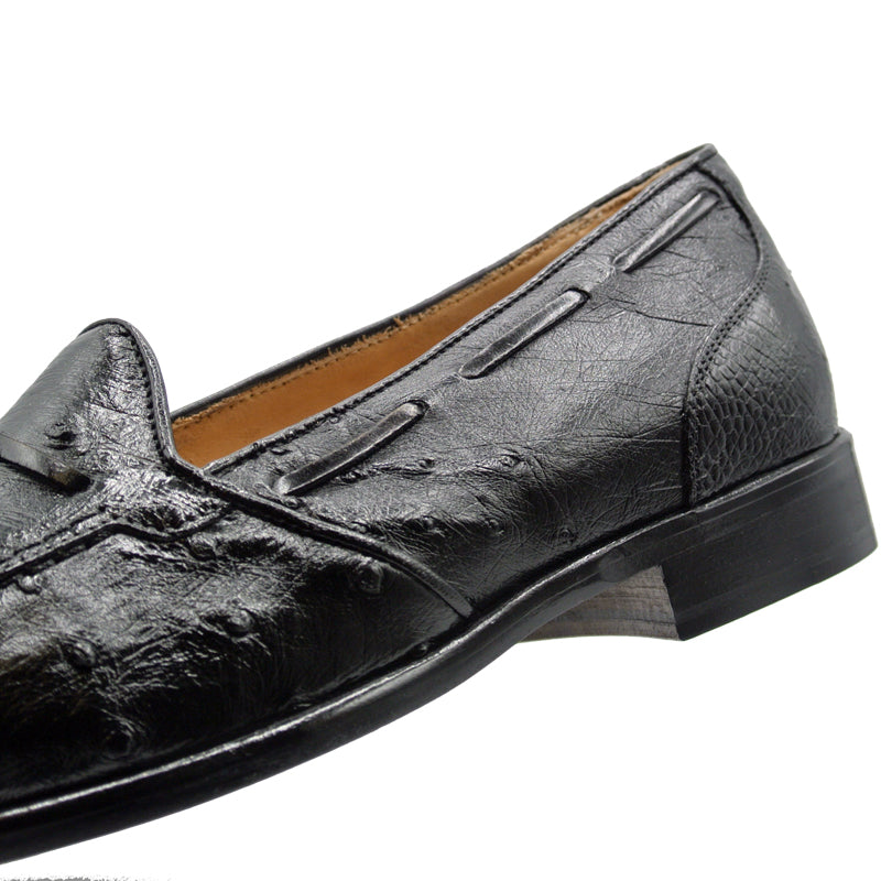 13-581-BLK FRANCO Ostrich Tassel Loafer, Black