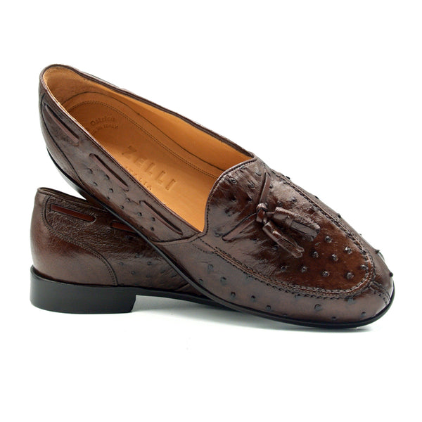 13-581-BRN FRANCO Ostrich Tassel Loafer, Brown