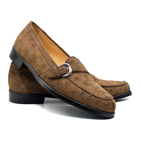 ORLANDO Ostrich Suede Buckle Loafer, Brown