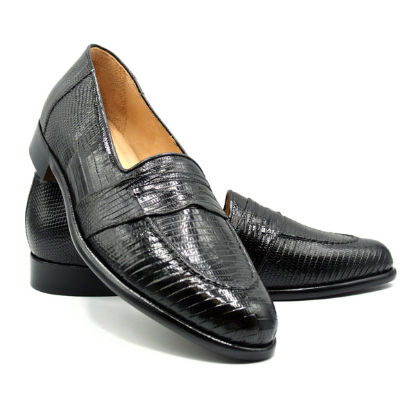 ROSSI Teju Lizard Penny Loafer, Black