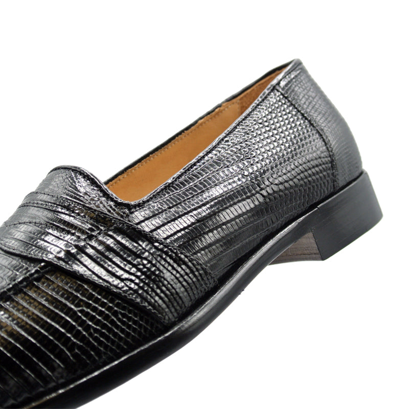 14-202-BLK ROSSI Teju Lizard Penny Loafer, Black