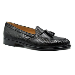14-580-BLK FRANCO Teju Lizard Tassel Loafer, Black
