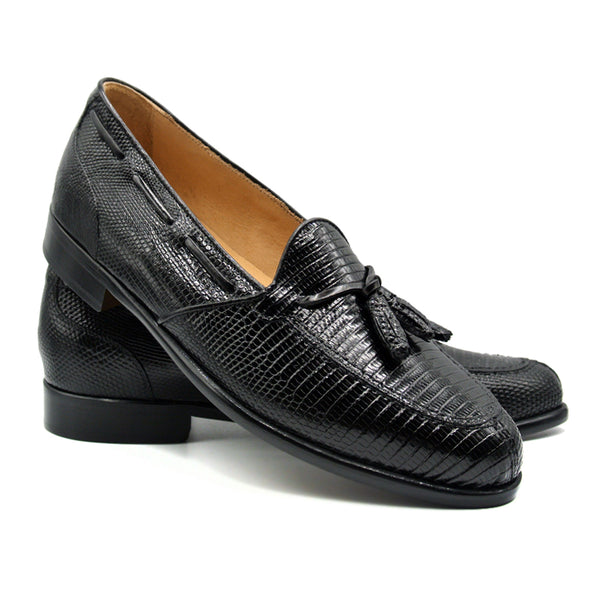 FRANCO Teju Lizard Tassel Loafer, Black