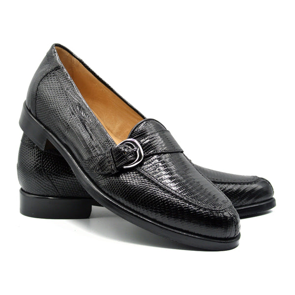 14-594-BLK ORLANDO Teju Lizard Buckle Loafer, Black
