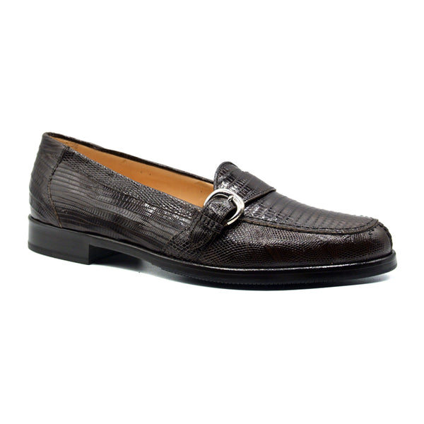 14-594-DBR ORLANDO Teju Lizard Buckle Loafer, Dark Brown