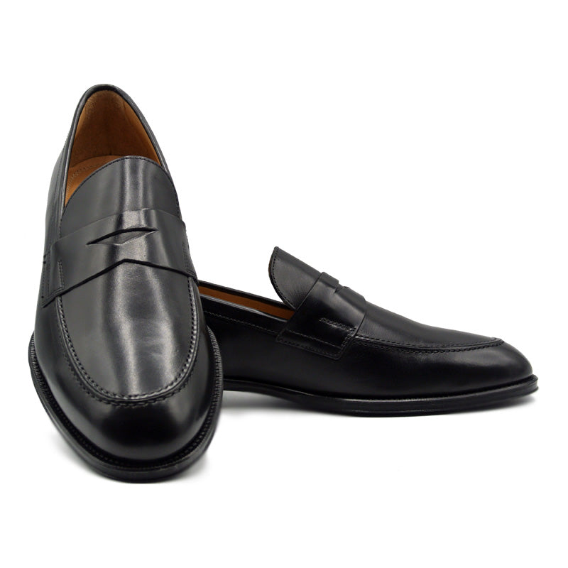 ROMA Calfskin Penny Loafer, Black