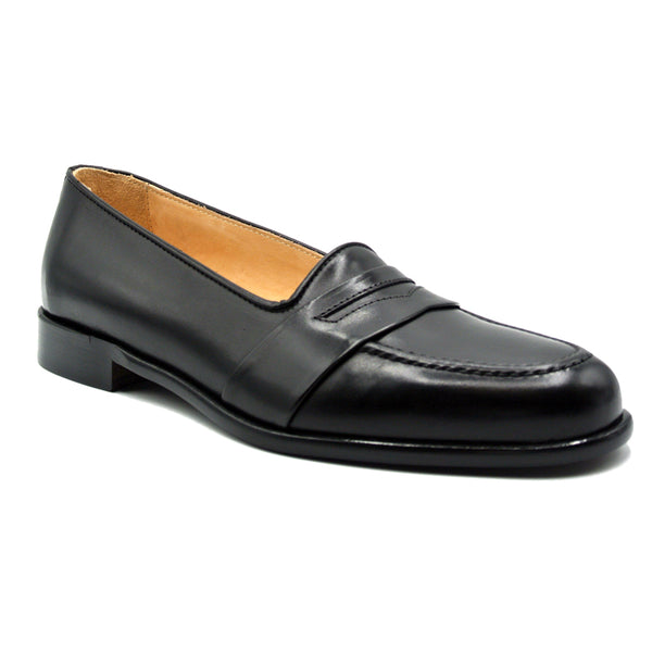 SAVANNAH Calfskin Penny Loafer, Black