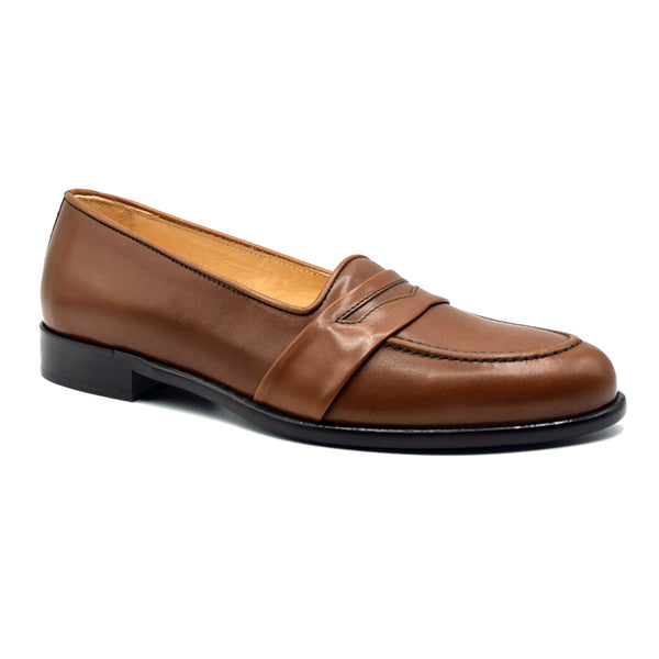 SAVANNAH Calfskin Penny Loafer, Chili