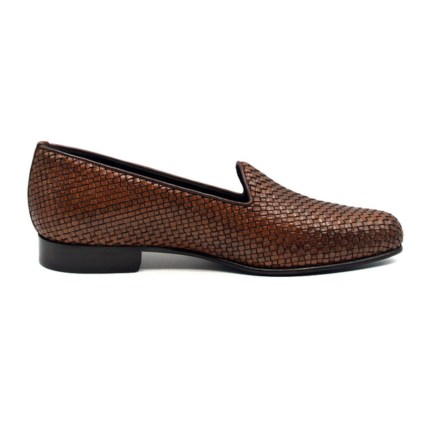 15-211-CGN CESTINO Calfskin Basketweave Slip On, Cognac