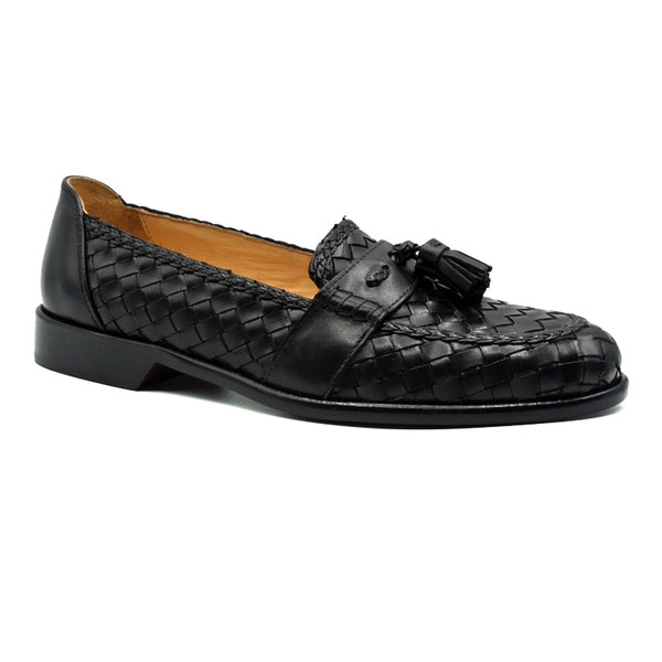 RIVIERA Basketweave Calfskin Tassel Loafer, Black