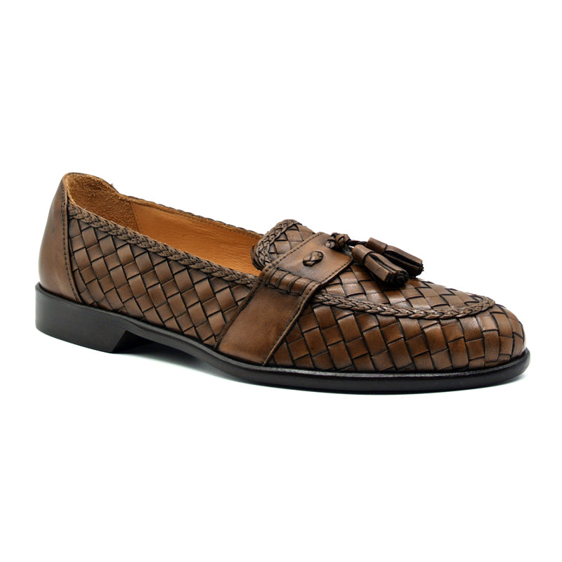 15-250-BRN RIVIERA Basketweave Calfskin Tassel Loafer, Brown