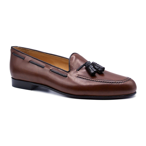 NAPLES Italian Calfskin Loafer with Croc Tassel, Cognac