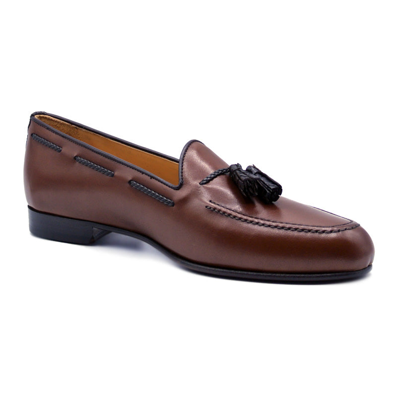 15-252-CGN NAPLES Italian Calfskin Loafer with Croc Tassel, Cognac