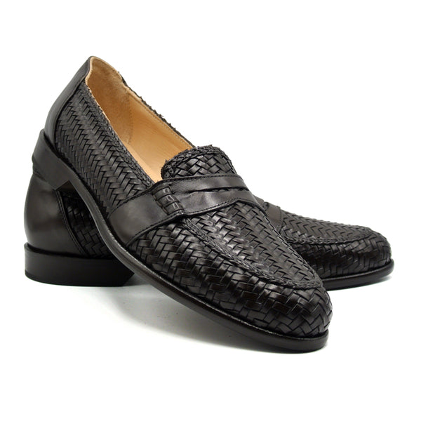 NICOLA Italian Calfskin Basketweave, Dark  Brown