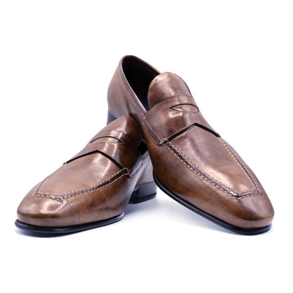 VITO Tumbled Calfskin Penny Loafer, Cognac