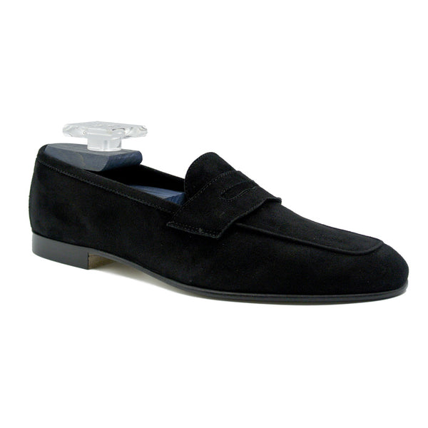 16-100-BLK TASCA Italian Sueded Kid Loafer Black
