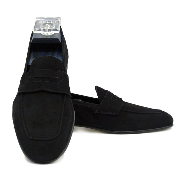 TASCA Italian Sueded Kid Loafer Black