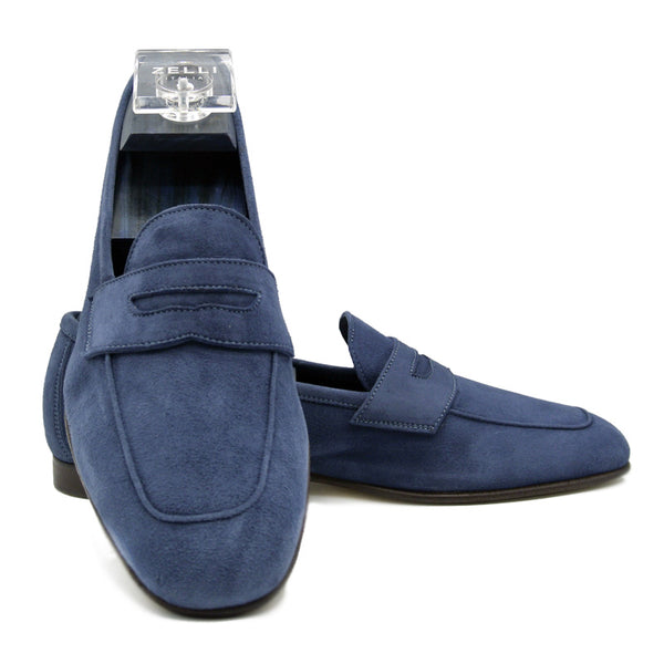 16-100-BLU TASCA Italian Sueded Kid Loafer Blue