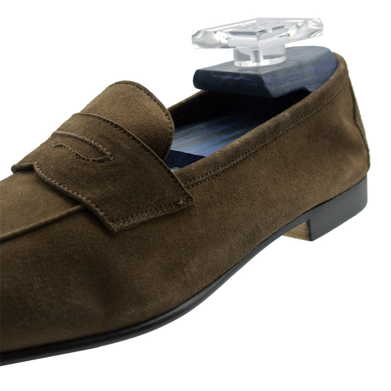16-100-CAF TASCA Italian Sueded Kid Loafer Cafe