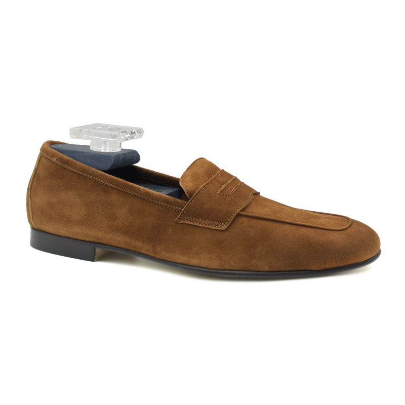 16-100-CGN TASCA Italian Sueded Kid Loafer Cognac