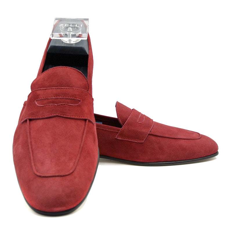 TASCA Italian Sueded Kid Loafer Red