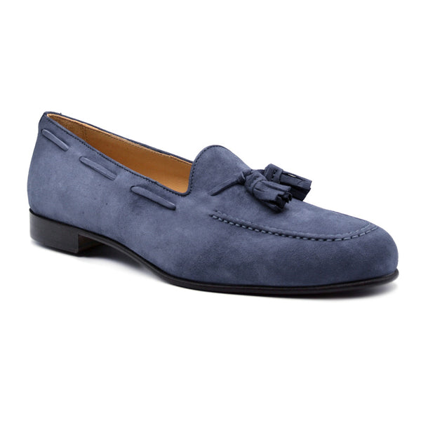 NAPLES Italian Kid Suede Tassel Loafer, Blue Water