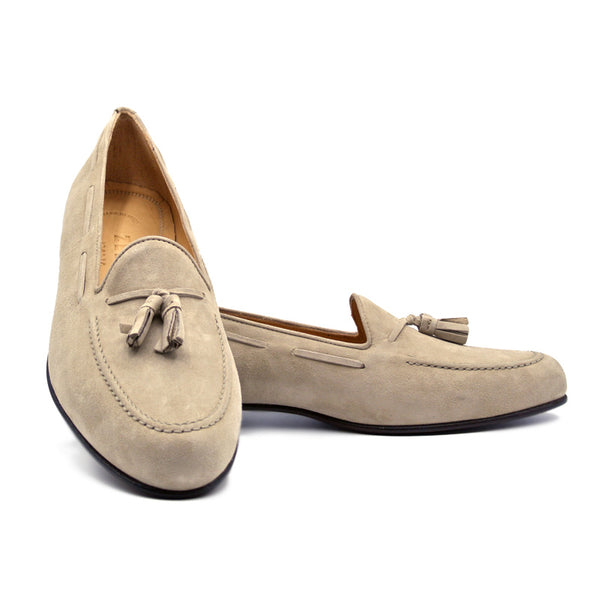 NAPLES Italian Kid Suede Tassel Loafer, Bone