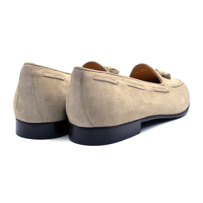 16-580-BON NAPLES Italian Kid Suede Tassel Loafer, Bone