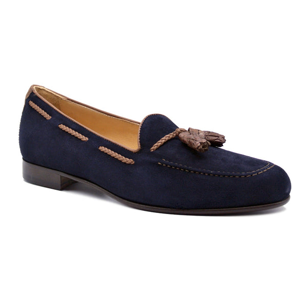 16-584-NVY NAPLES Italian Kid Suede with Embossed Crocodile Tassel Loafer, Navy