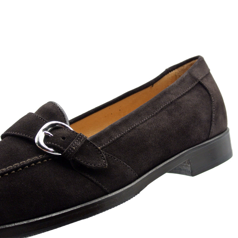 16-596-DBR ORLANDO Suede Calfskin Buckle Loafer, Dark Brown