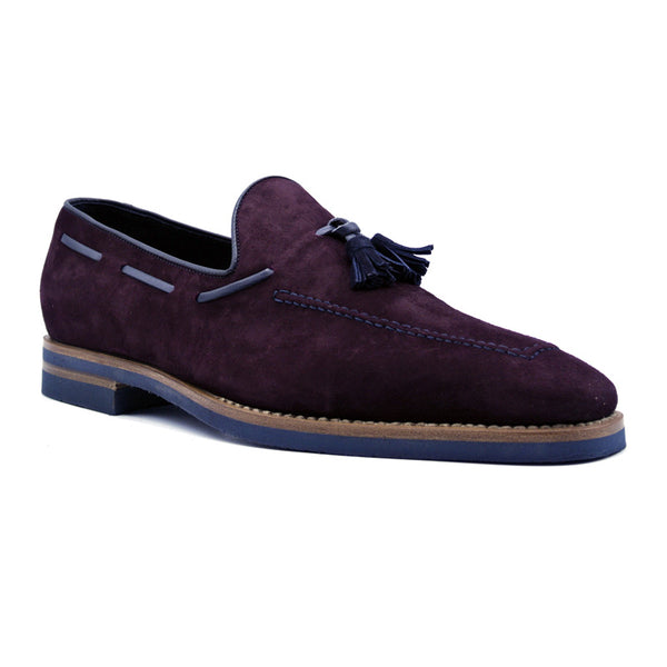 16-625-BDX CRAWFORD Sueded Goatskin & Crocodile Tassel Loafer, Bordeaux