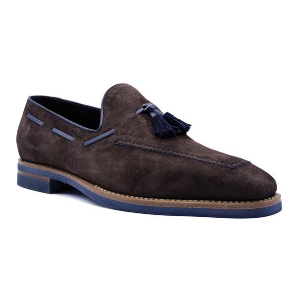 CRAWFORD Sueded Goatskin & Crocodile Tassel Loafer, Brown