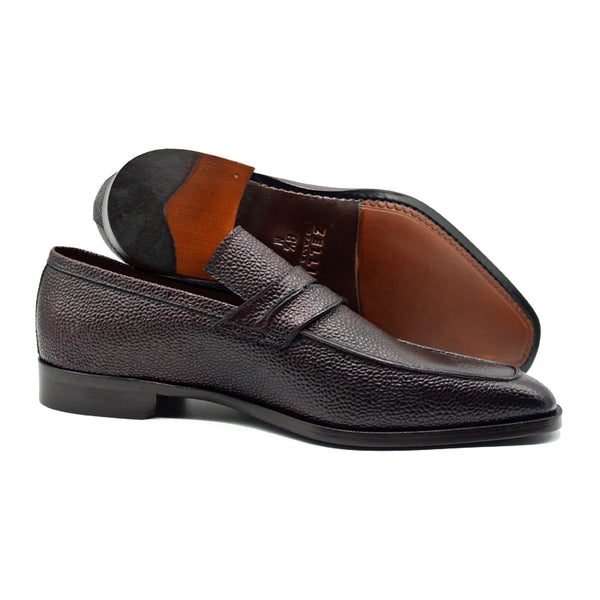 17-595-BRG MEO Pebble Grain Calfskin Penny Loafer, Burgundy