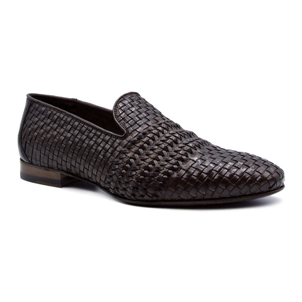 LUCE Italian Calfskin Woven Loafer, Dark Brown
