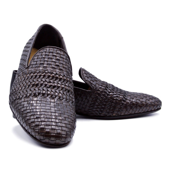 19-229-DBR LUCE Italian Calfskin Woven Loafer, Dark Brown