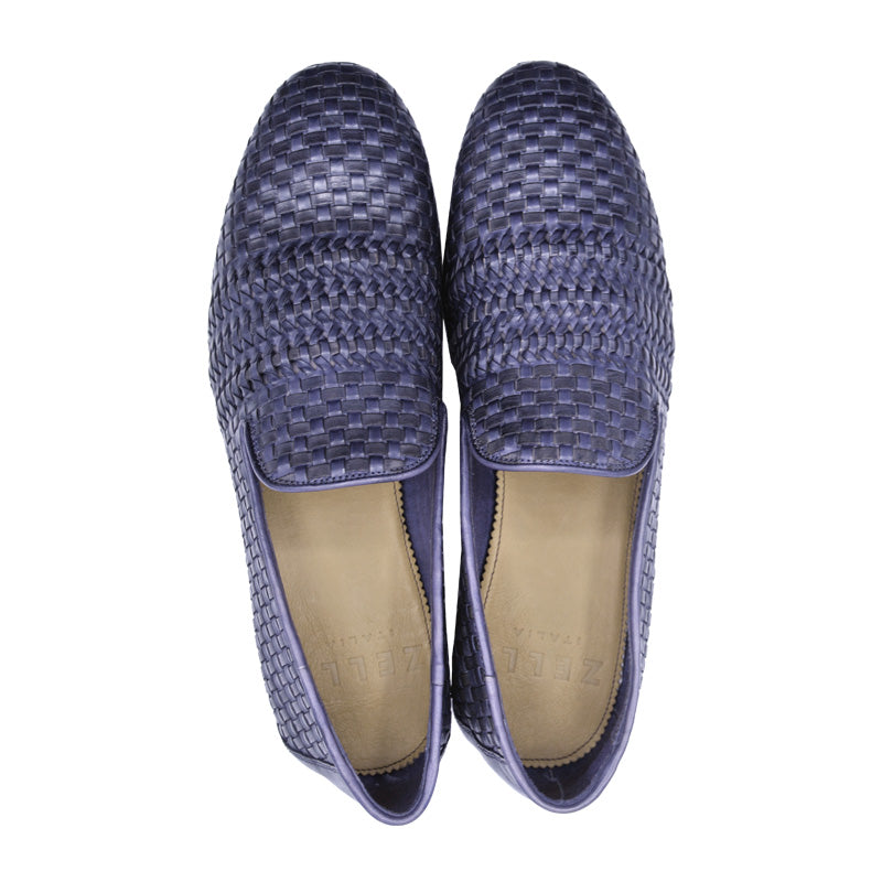 19-229-GRY LUCE Italian Calfskin Woven Loafer, Denim-Grey