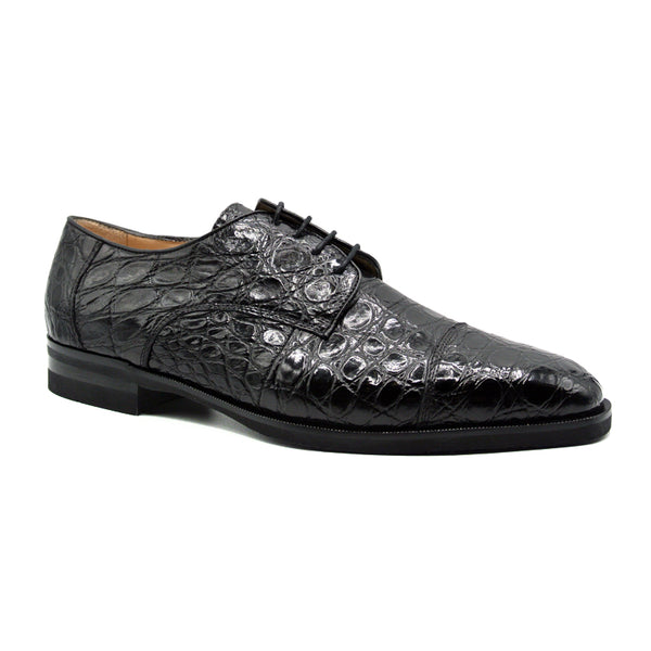 ANDREA Crocodile Lace Up, Black