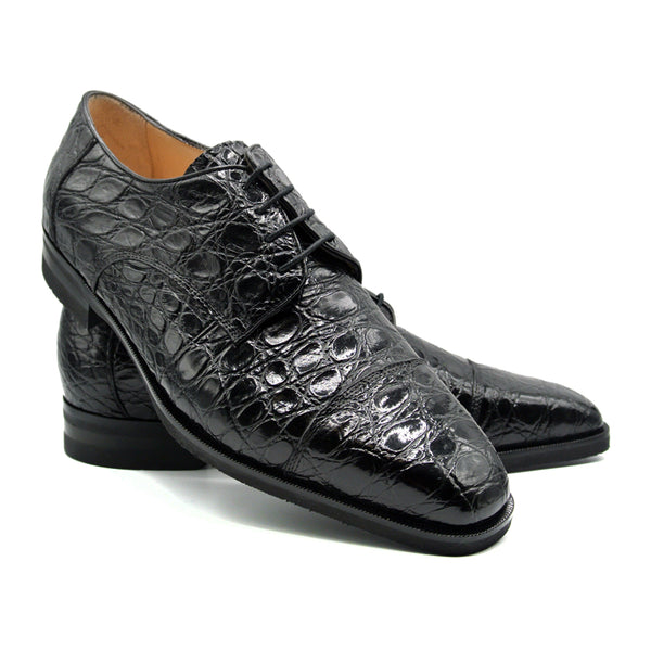 21-532-BKM ANDREA Crocodile Lace Up, Black