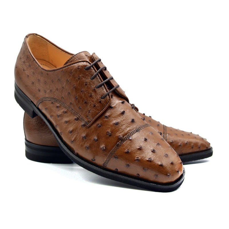 ANDREA Ostrich Quill Lace Up, Brandy