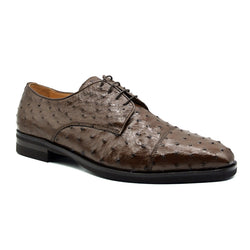 23-538-BRN ANDREA Ostrich Quill Lace Up, Brown