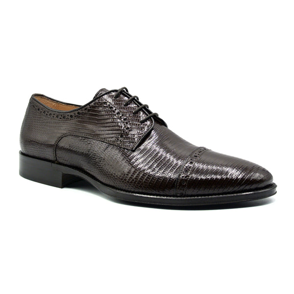 GIOVANNI Teju Lizard Lace Up, Dark Brown