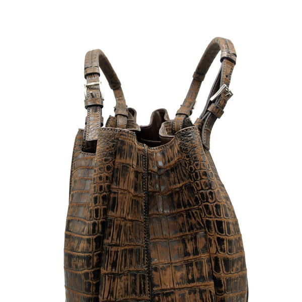 30-650-BRN THE VICTORIA Gracen Nile Crocodile Handbag, Brown