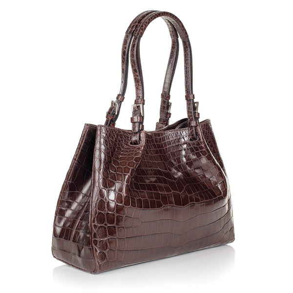 THE VICTORIA Gracen Nile Crocodile Handbag, Nicotine