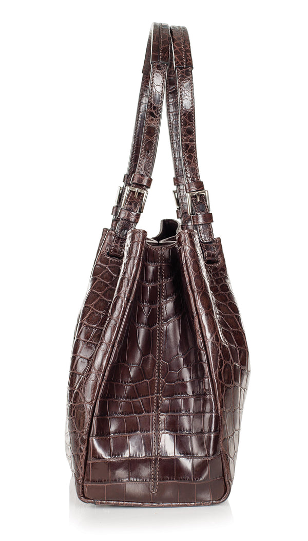 30-650-NIC THE VICTORIA Gracen Nile Crocodile Handbag, Nicotine